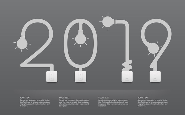 2019  - 抽象的な電球とライトスイッチ。
