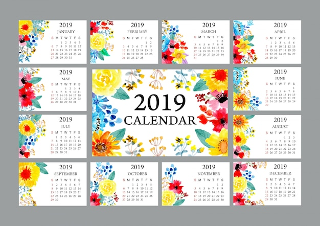 カラフルな水彩の花と2019カレンダー
