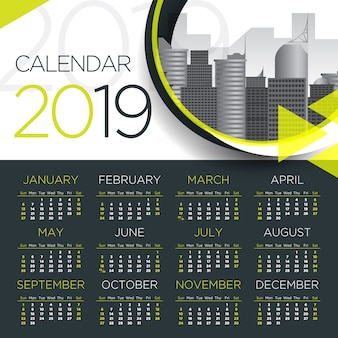 2019国際ビジネスカレンダー - ベクターテンプレート