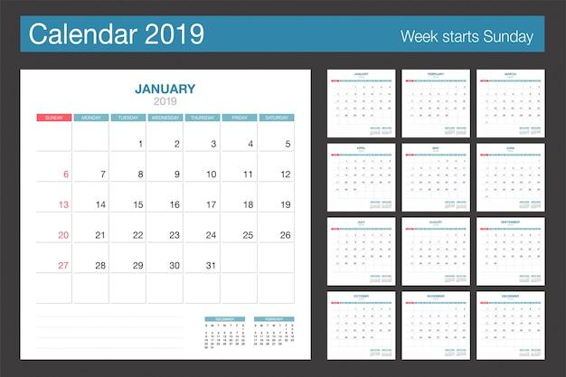 2019カレンダー。