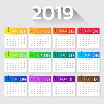 Календарь 2019 год красочный шаблон градиента.