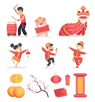 Азиатский новый год. счастливые китайцы празднуют 2019 год с традиционными символами драконов фонарь фейерверки картинки