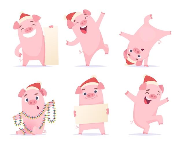 Новый год мультфильм свинья. смешные 2019 милые персонажи кабан боров поросенок иллюстрации талисман изолированные