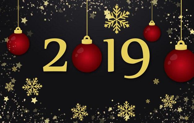 新年2019年とメリークリスマスの休日の背景概念図。