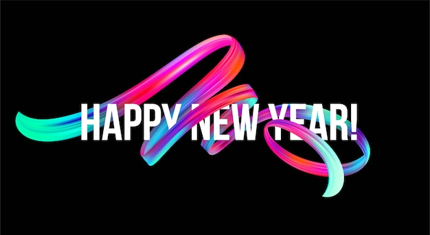 カラフルなブラシストロークオイルまたはアクリル絵の具で2019年新年バナー