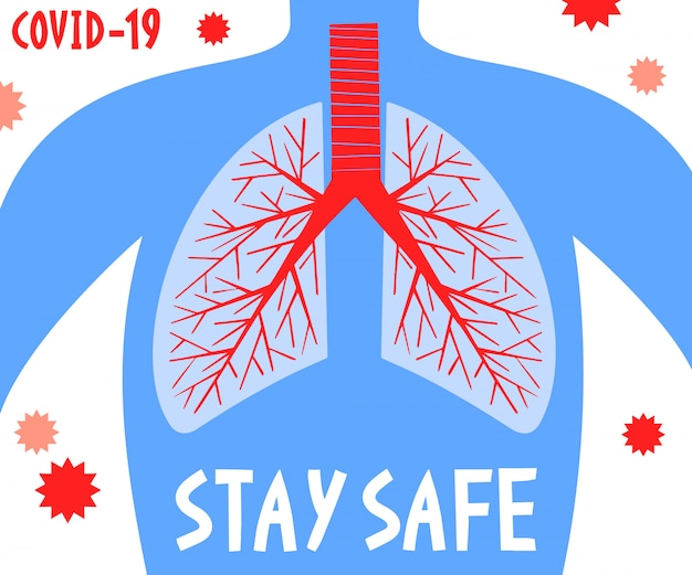 Оставайтесь в безопасности. пандемическая медицинская концепция баннер с человеческими легкими. вспышка коронавируса. фон 2019-нков.