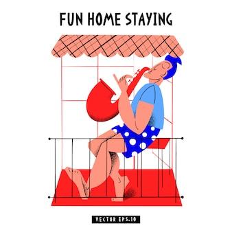 Знамя концепции пандемической изоляции с карантином. иллюстрации. вспышка коронавируса. фон 2019-нков. оставайся дома. веселое пребывание дома