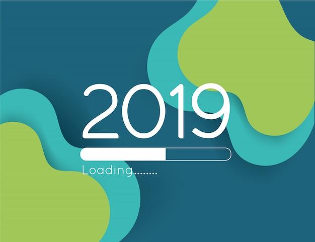 С новым годом загрузка прогресса 2019 иллюстрация аннотация зеленая волна бумаги вырезать бар