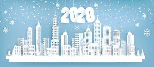 202 landscape town in winter. paper art style