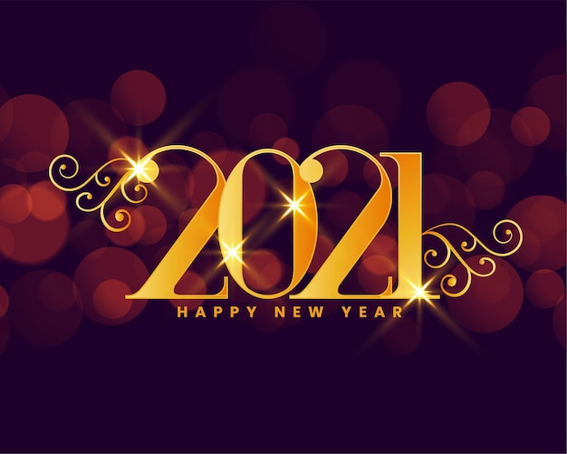 202 new year wishes card with bokeh background