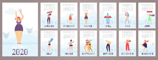 女性カレンダー2020 12ヶ月フェミニストフラットスタイル