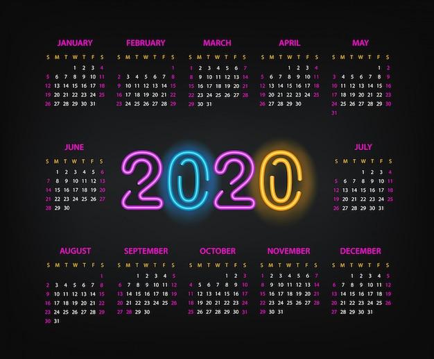 2020年のカレンダーテンプレート。 2,000年の新年カレンダー
