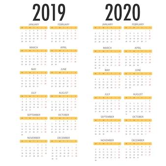 2020年のカレンダー、2019年の白い背景。ベクトルテンプレート