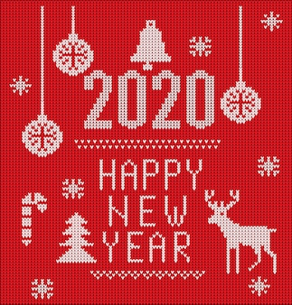 クリスマス、2020年の新年や冬のデザインのための2020ニットフォント、要素、ボーダー