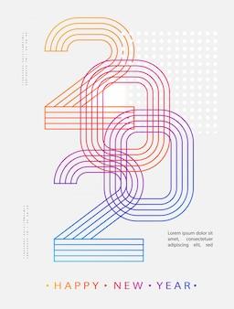2020モダン。 2020明けましておめでとうございます。数字のミニマリストスタイル。線形数。グリーティングカードをデザインします。