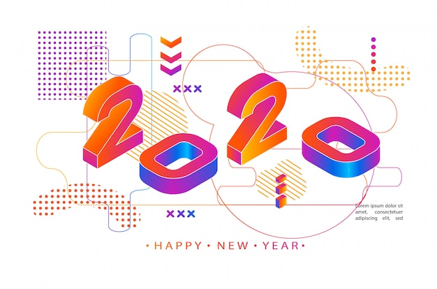 2020 цветной мемфис стиль. современный баннер с номерами 2020 года. новый год .