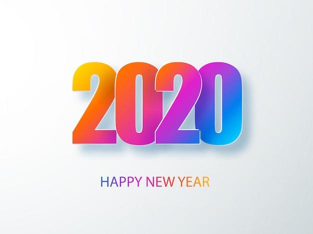 紙のスタイルで幸せな2020年新年色バナー。季節ごとの休暇のチラシ、挨拶と招待状、クリスマスをテーマにしたお祝いとカード用の2020年の最新テキスト。イラスト