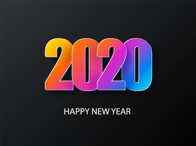 2020新年あけましておめでとうございますカラフルなグラデーション構成と暗い背景。創造的なトレンディな休日。 2020モダン。