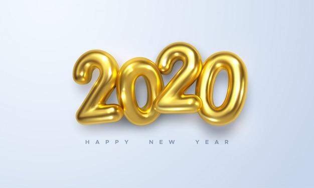ハッピーニュー2020年。黄金の金属番号2020の休日ベクトルイラスト
