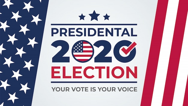 選挙日。アメリカの2020年投票、バナーデザイン。 2020年の大統領投票に関する米国の議論。選挙投票ポスター。政治選挙キャンペーン