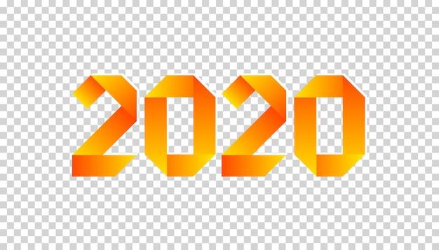 オレンジ色の2020年の折り紙スタイルで作られた新しい2020年紙カード。