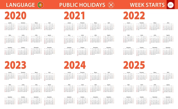 2020-2025 year calendar in portuguese language, week starts from sunday.