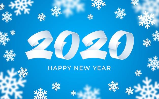 2020新年あけましておめでとうございます背景、白、青の数字テキスト、3 dの抽象的な雪片冬カード