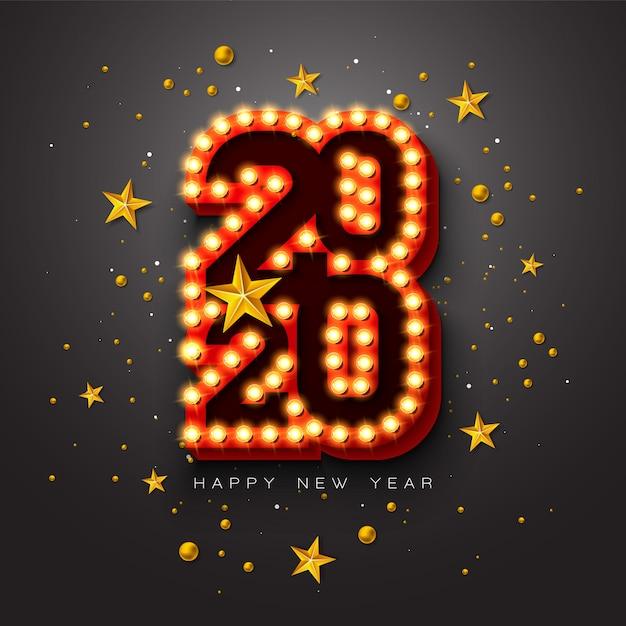 Иллюстрация с новым годом 2020 с 3d надписи типографии лампочку и рождественский бал на черном фоне.