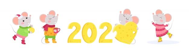 Новый год 2020 набор плоских векторных символов. 4 маленьких мышки зимних персонажей. китайский календарь знак зодиака.