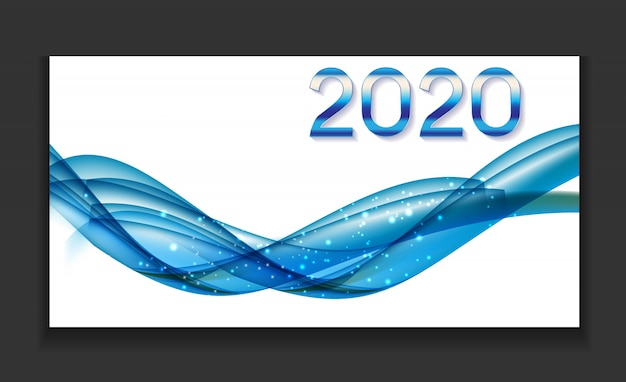 2020 abstract illustration of new year on background of colored waves