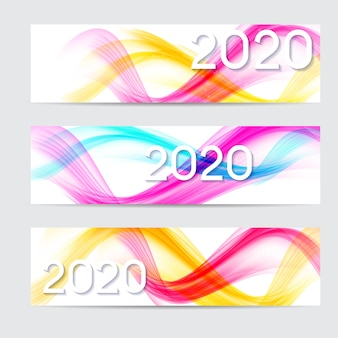 2020 abstract illustration of new year on banner of colored waves