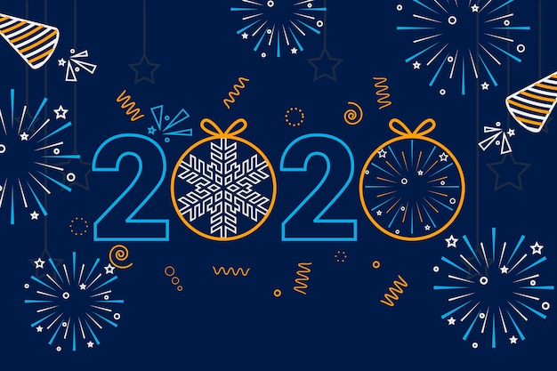 2020 background outline style with fireworks