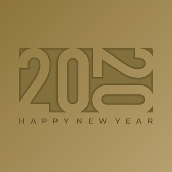 2020 banner new year greeting design with embossed text on gold paper