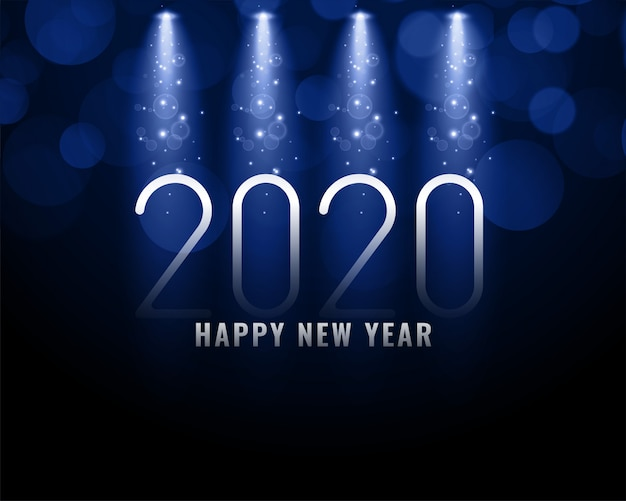 2020 blue new year background with light rays
