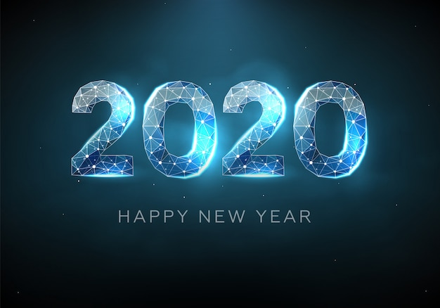 2020 blue text design. low poly wireframe. happy new year.