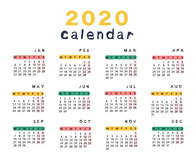Calendario Pesca 2020.Business Calendar 2020 Vectors Photos And Psd Files Free