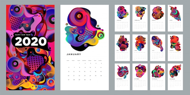 Шаблон дизайна календаря 2020 с красочной абстрактной жидкостью и геометрическим фоном
