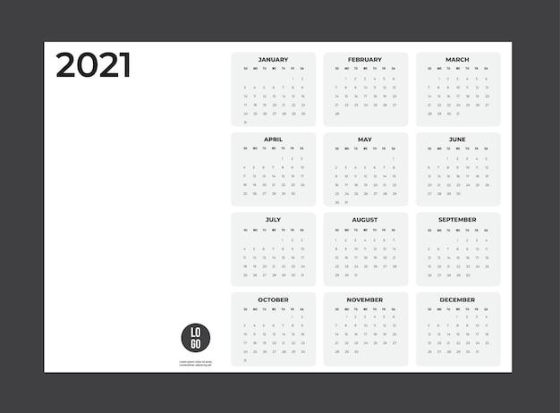 Календарь 2020 - иллюстрации. шаблон. неделя макета начинается в воскресенье