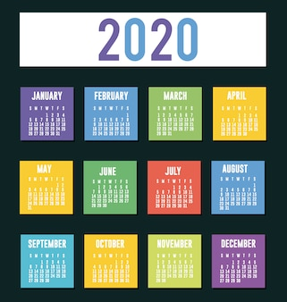 2020 calendar planner vector design