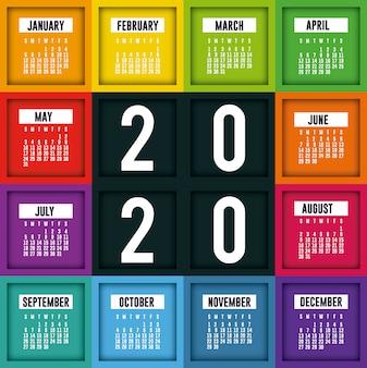 2020 calendar planner with frames vector design