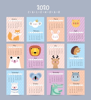 2020 calendar set with cute animals