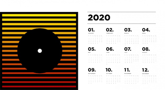 2020 calendar  template with colourful abstract geometric background
