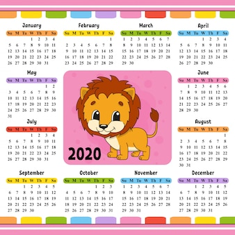2020 calendar with cute lion
