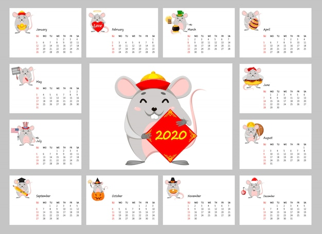 2020 calendar with funny rats