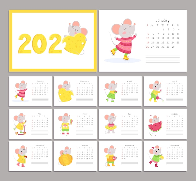 2020 calendar with mice flat vector templates set