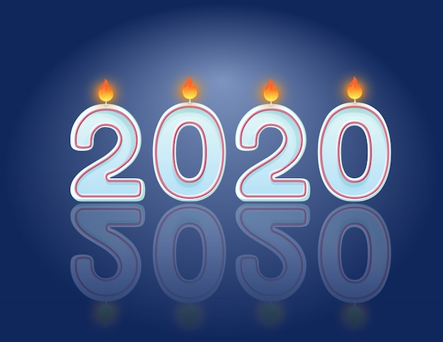 2020 candles new year celebration