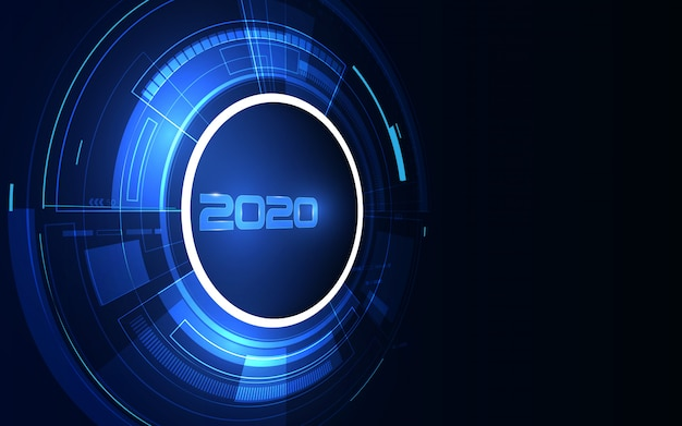 2020 celebration with cyber futuristic technology background