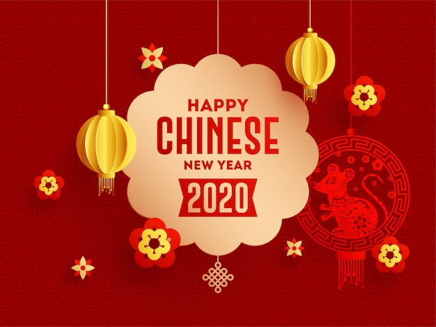 2020 chinese happy new year greeting card  with hanging rat zodiac sign and paper cut lanterns decorated on red seamless circle wave .