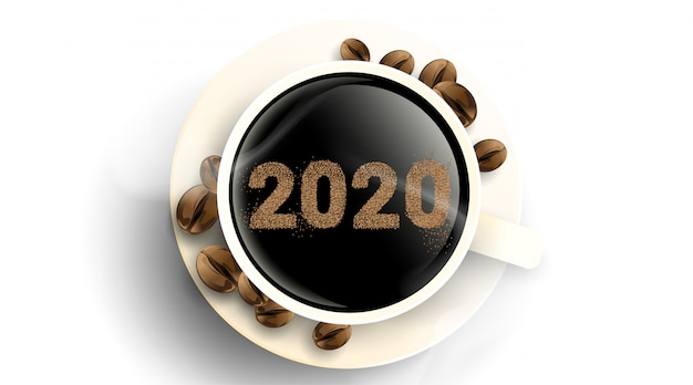 2020 coffee beans text number . cup of hot coffee with powder. simple