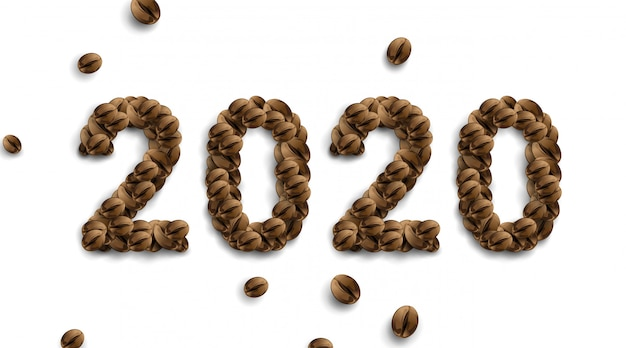 2020 coffee text number . coffee bean powder . simple